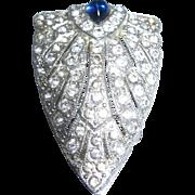 Sparkling Rhinestone & Faux Sapphire Dress Clip