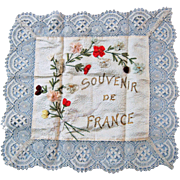 "Wonderful Large French Ribbon Work Hanky  ""Souvenir de France"""