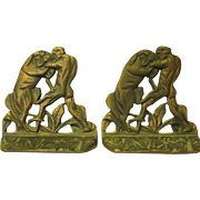 Art Deco Cast Metal Book Ends - Gladiator & Lion