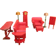 SALE PENDING Set of Strombecker Doll Furniture Sofa Chair Lamps Radio