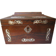 19th Century Tea Caddy - Mother Of Pearl Inlay