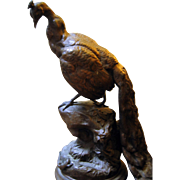 French Sculpture -Spelter Peacock & Lizard - Charles Valton ca. 1900