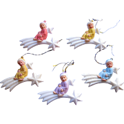 SOLD Five Made in Germany Plastic Angels Riding Shooting Stars Ornaments