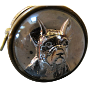 SOLD Vintage Reverse Carved Glass Tape Measure - French Bulldog Germany