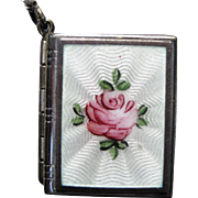 Sterling Guilloche Enamel Book Locket With Chain - Roses