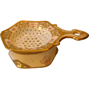 SOLD Hand Painted Nippon Tea Strainer - Gold & Pink Roses