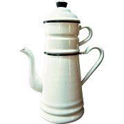 4 Piece White Enamel Biggin Coffee Pot - Graniteware