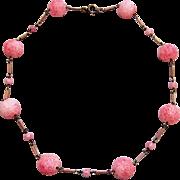 Pink Molded Glass Bead Choker