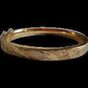 12K Gold Filled Bangle Bracelet Etched Design