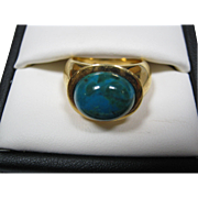 SALE PENDING Gold Over Sterling Silver Ring W/ Glass Cabochon Stone