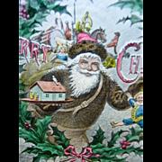 SALE PENDING Christmas Magic Lantern Slide - Santa Claus W/ Toys - Hand Tinted