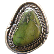 Large Vintage Sterling Silver Turquoise Ring