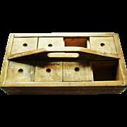 Wonderful Primitive Wood Carrier W/ Sliding Covers