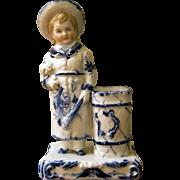 Beautiful Porcelain Blue & White Match Holder - Boy & Puppy