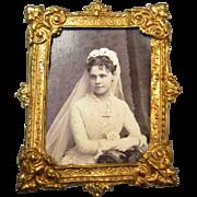 SALE PENDING Erhard & Sohne Miniature Ormolu Frame - Bride Photo 1881