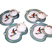Noritake Luster Snack Set - Brilliant Swallows - Set Of 4