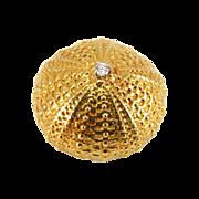 Vintage 18K Gold Seashell Urchin Shell Brooch with Diamond Center