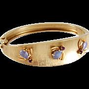 Vintage 14K Gold Florentine Lavender Jade & Amethyst Bee Bangle Bracelet