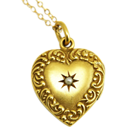 Antique Edwardian 14K Scroll Border Heart Locket Pendant Necklace with Star-Set Pearl
