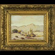 Vintage Desert Landscape Oil Painting by California Artist Herbert Sartelle