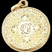 Antique Edwardian Wightman & Hough ¼ Gold Shell Floral Engraved Locket