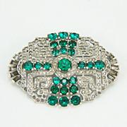 Large Vintage Mazer Art Deco Pave Rhinestone Emerald & Baguette Brooch