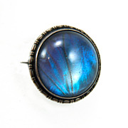 Vintage England Sterling Silver Morpho Butterfly Wing Brooch