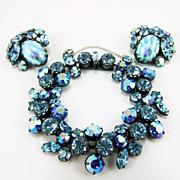 Fabulous Vintage Aqua Blue Regency Rhinestone Bracelet & Earrings Set