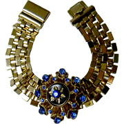 SOLD Chunky Vintage Bracelet with Dark Blue Rhinestone Centerpiece