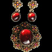 Hobe Designer Red Cabochon Brooch & Earrings Set