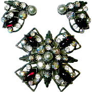 Selro Maltese Cross Vintage Pendant Necklace Brooch With Matching Earrings Set