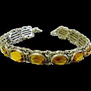 Dainty Vintage Metal & Yellow Glass Bracelet
