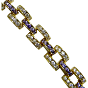 Most Beautiful Vintage Chunky Purple & Clear Sparkling Rhinestones Bracelet