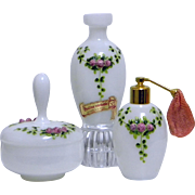 Vintage French Opaline Glass Vanity Set / Dresser Set
