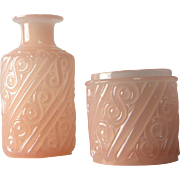 Portieux-Vallerysthal Vintage French Pink Opaline Glass Vanity Set