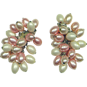 Fabulous Large Pink Faux Pearl Earrings