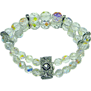 Vintage Multi-faceted Crystal and Rhinestones Bracelet