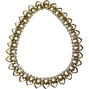 Vintage Trifari Hearts & Rhinestones Necklace, c. 1949