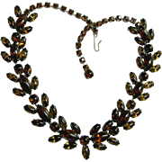 Rootbeer Colored Cabochons & Rhinestone Choker Necklace, c. 1930's