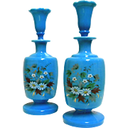 Vintage Blue Opaline Glass Barber / Scent Bottles  ~Matching Set of Two~