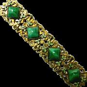 Vintage Gilt, Peking Glass & Enamelled Leaves Bracelet