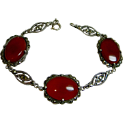 Beautiful Sterling Silver Marcasite & Carnelians Bracelet, c. 1920's