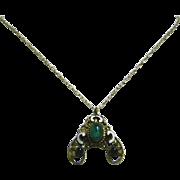 Vintage Delicate Brass & Enamelled Necklace
