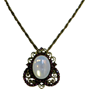 Beautiful 1960's Opaline Glass & Purple Rhinestone Necklace