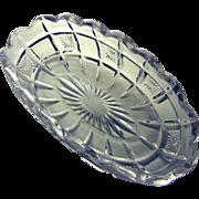Tarentum Glass 1910 Verona a.k.a. Waffle & Star Band Calling Card Dish