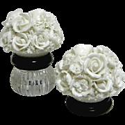 Vintage Lenwile-Ardalt Fine Porcelain Flower Encrusted Candle Holders