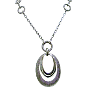 Crown Trifari Vintage Double Teardrop Mid Century Modern Pendant Necklace