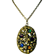 Huge Bold Vintage Pendant Necklace with Colored Glass Stones