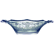 Viking Glass Vintage Handled Bonbon Bowl Prelude Etch