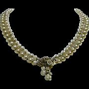 Vintage Eugene 2 Strand Faux Pearl Necklace